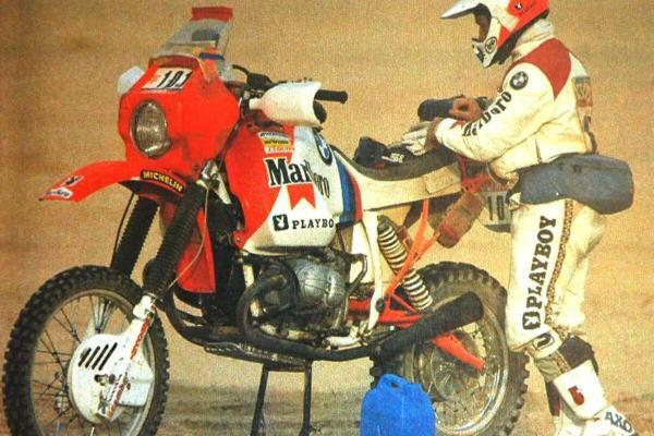Gaston Rahier la cursa Paris-Dakar 1985, cu modelul BMW R80 G/S