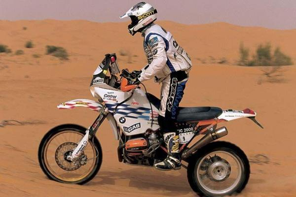 Richard Sainct, pe un BMW F650GS RR, la cursa Paris-Dakar 1999